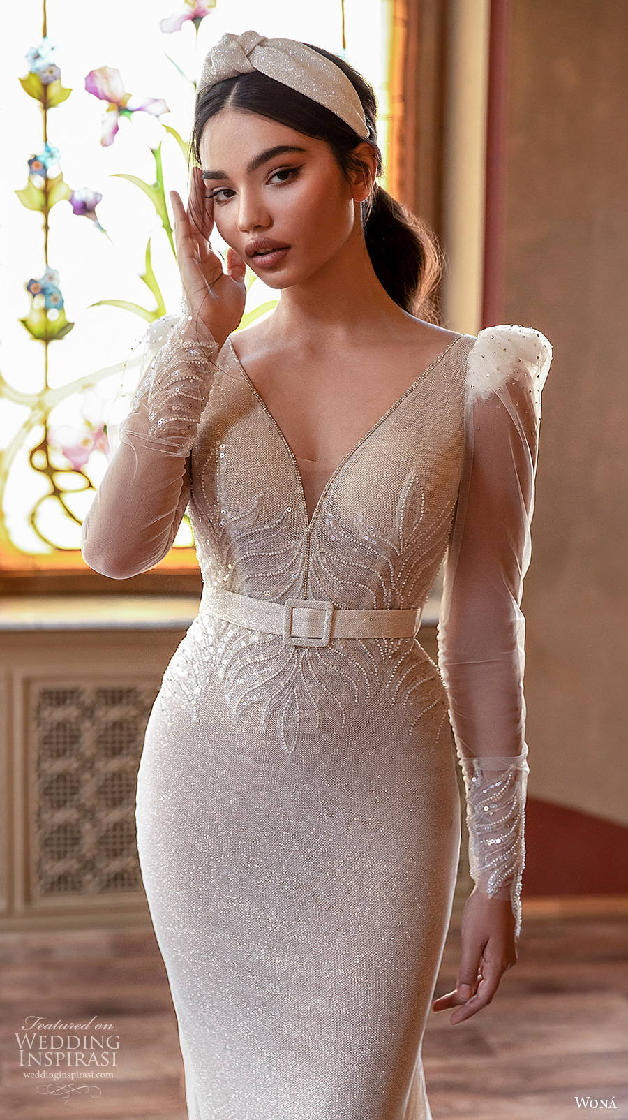 wona concept 2021 romance bridal long sleeves v neck lightly embellished bodice glamorous elgan fit and flare wedding dress keyhole back chapel train (8) zv