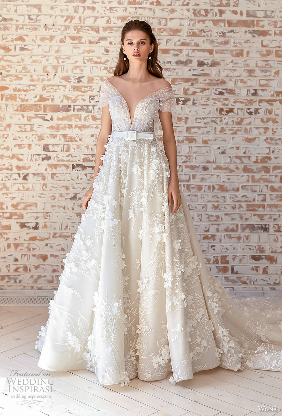 wona concept 2021 romance bridal off the shoulder deep v neck full embellishment romantic yellow a  line wedding dress v back chapel train (12) mv