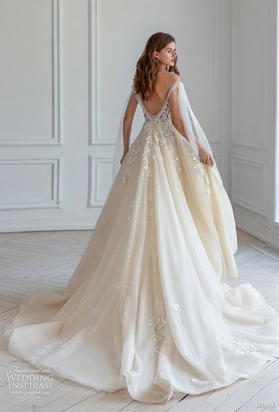 wona concept 2021 romance bridal off the shoulder v neck heavily embellished bodice romantic ivory a  line wedding dress v back chapel train (1) bv