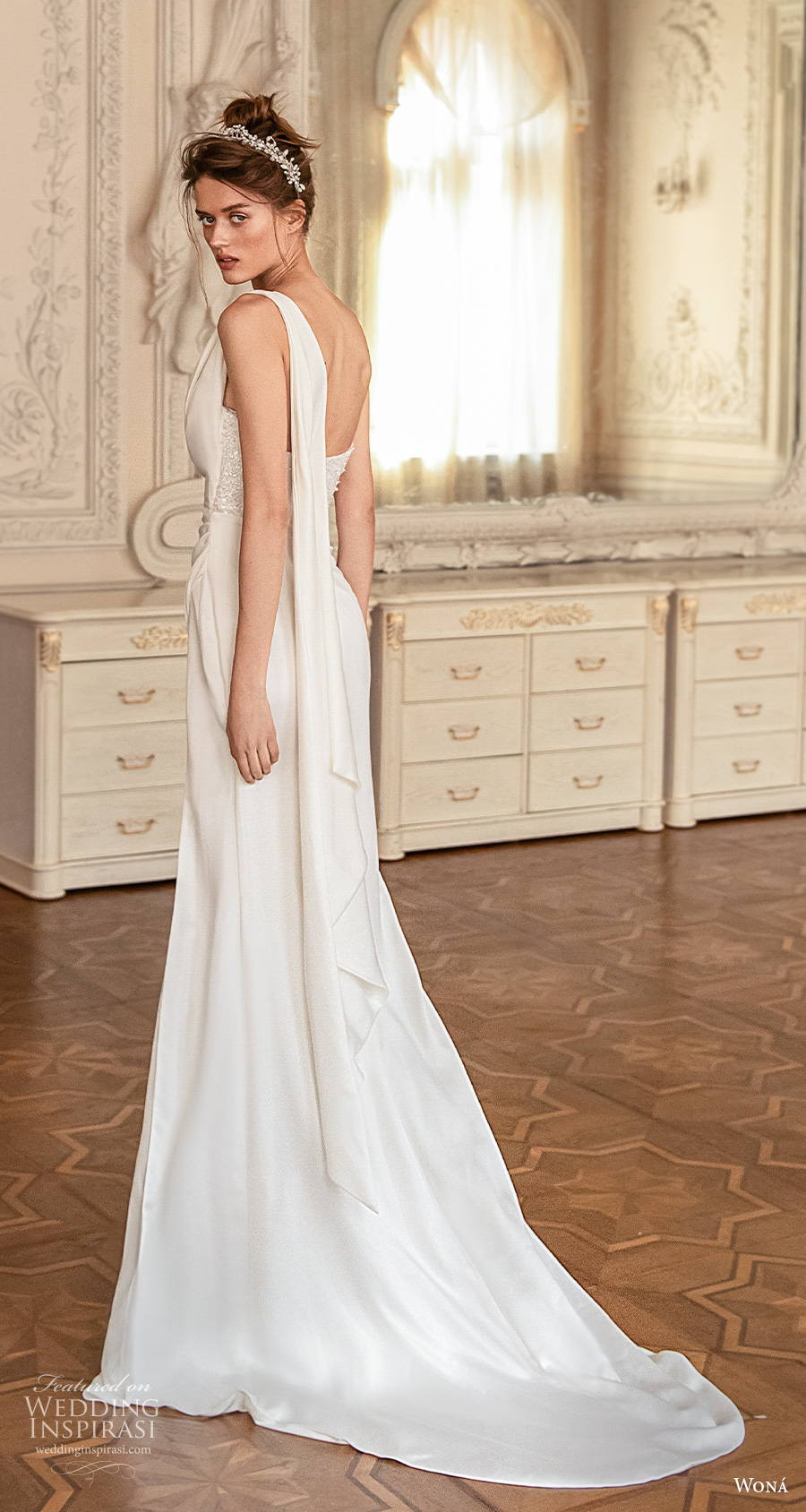 wona concept 2021 romance bridal one shoulder straight across heavily embellished bodice slit skirt modern elegant modified a  line wedding dress short train (16) bv