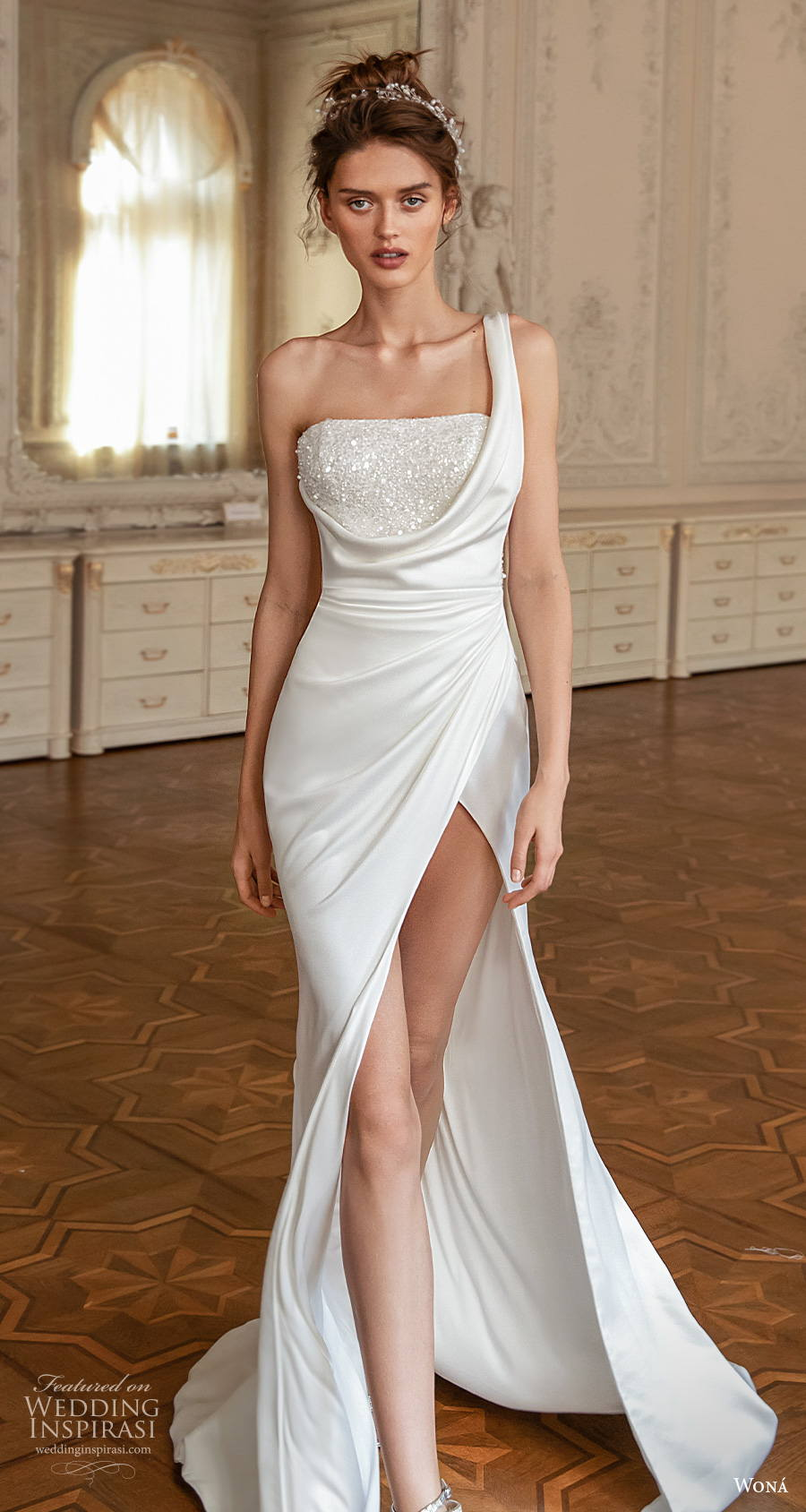 wona concept 2021 romance bridal one shoulder straight across heavily embellished bodice slit skirt modern elegant modified a  line wedding dress short train (16) mv