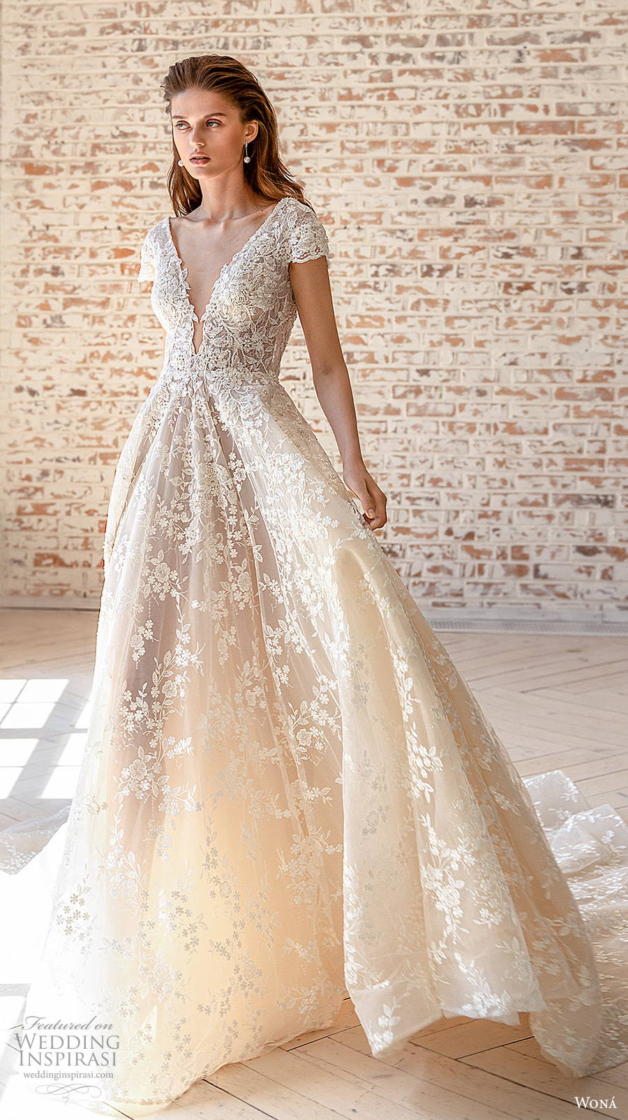 wona concept 2021 romance bridal short sleeves deep v neck full embellishment romantic soft a  line wedding dress v back chapel train (2) mv
