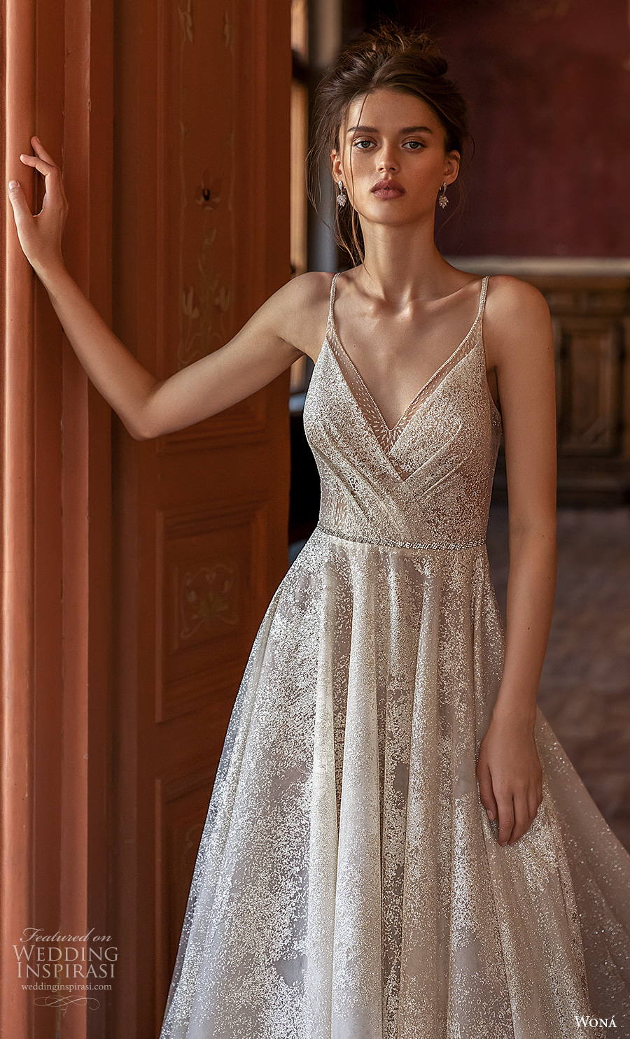 wona concept 2021 romance bridal sleeveless spaghetti strap v neck wrap over full embellishment glamorous romantic a  line wedding dress v back chapel train (17) zv mv