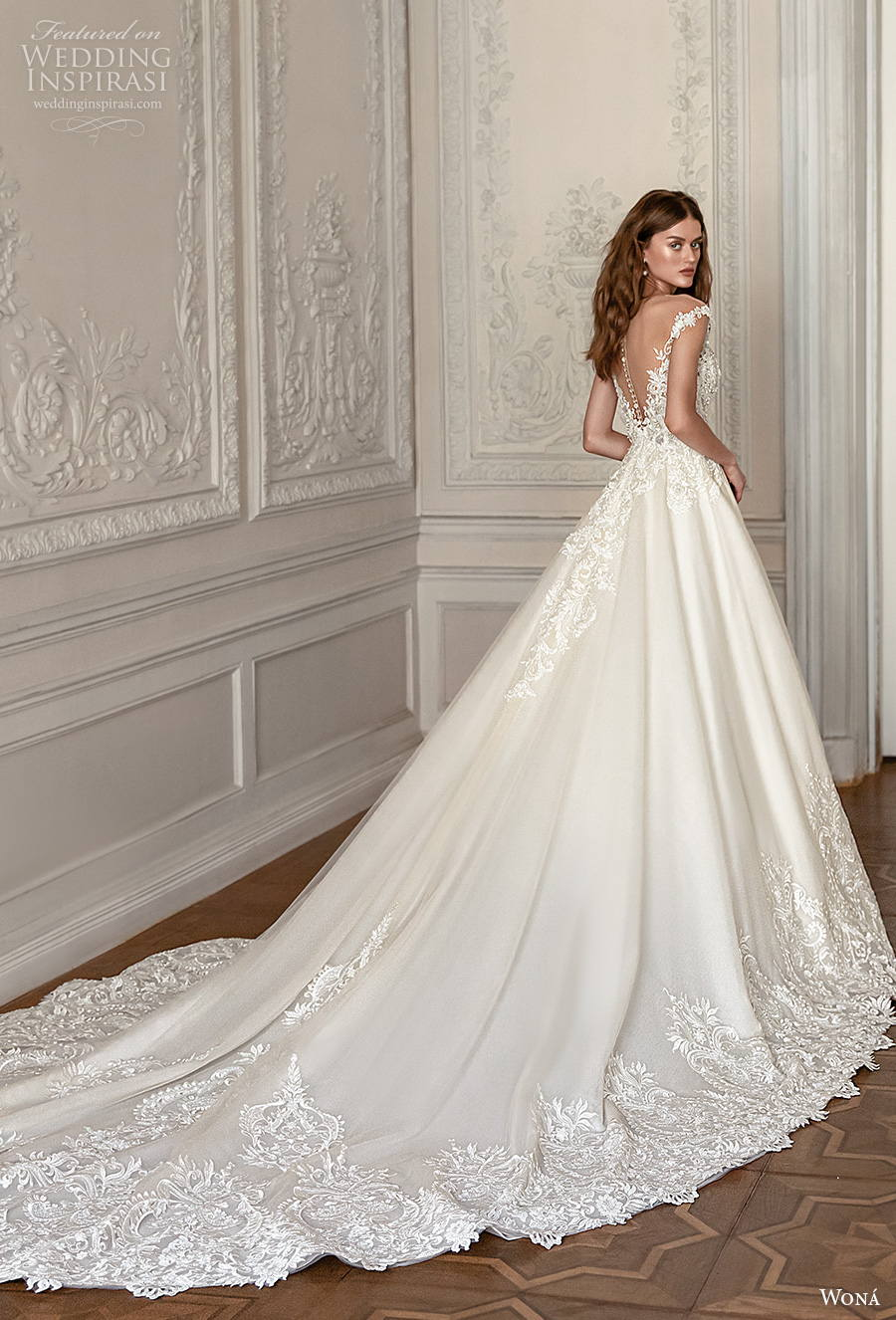 wona concept 2021 romance bridal sleeveless v neck heavily embellished bodice romantic a  line wedding dress sheer button v back royal train (9) bv
