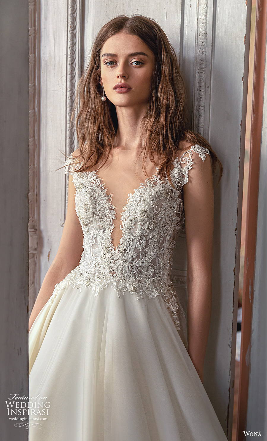wona concept 2021 romance bridal sleeveless v neck heavily embellished bodice romantic a  line wedding dress sheer button v back royal train (9) zv