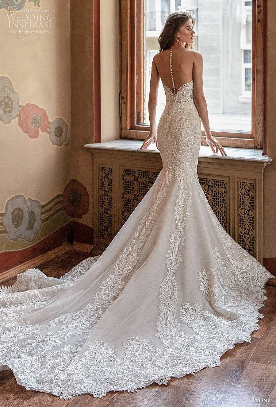 wona concept 2021 romance bridal strapless sweetheart neckline full embellishment mermaid wedding dress sheer button back chapel train (15) bv