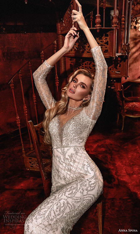 anna sposa 2021 couture bridal illusion long sleeves high pluning v neckline fully embellished glitzy glam sheath wedding dress sweep train (2) zv