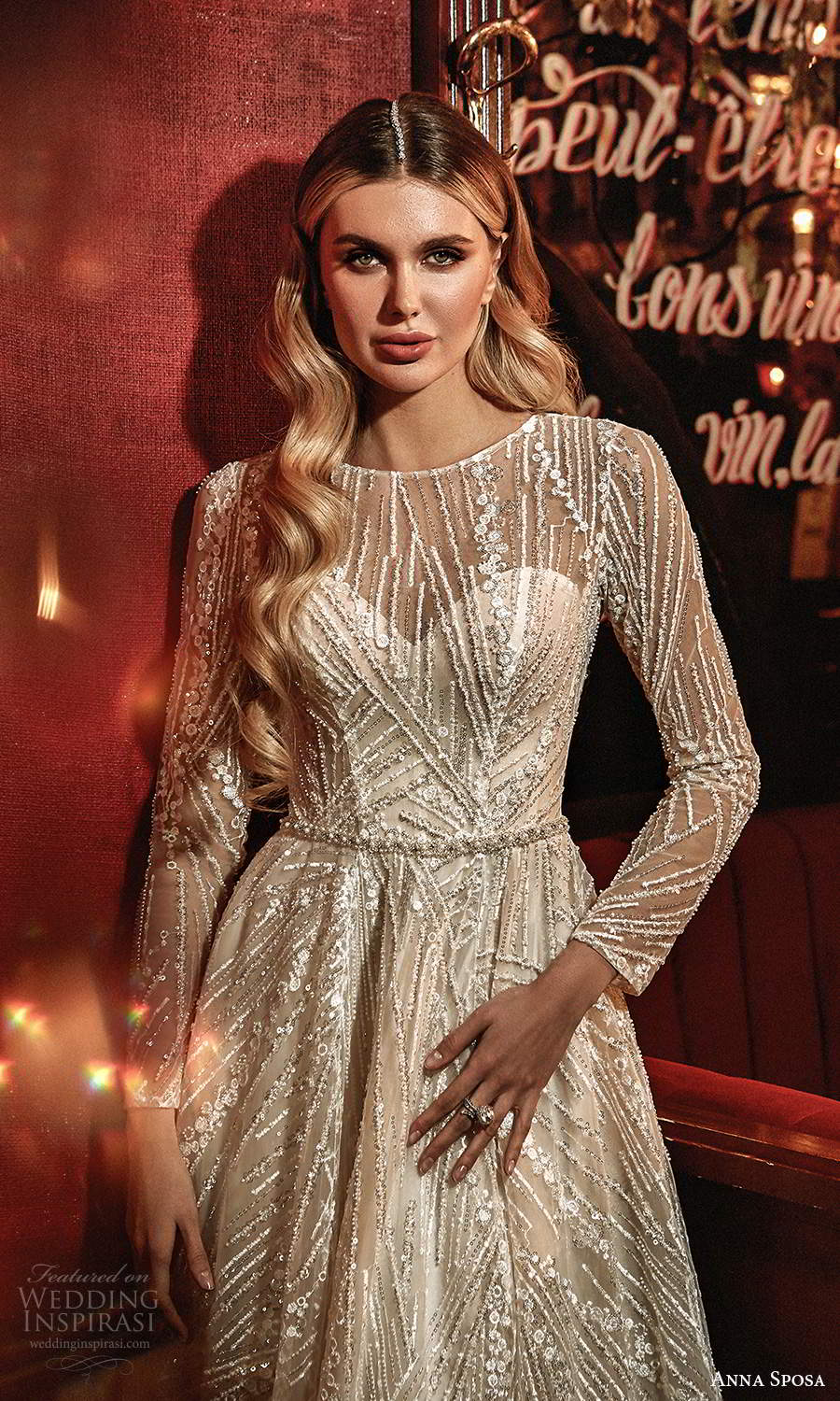 anna sposa 2021 couture bridal illusion long sleeves jewel neckline fully embellished a line ball gown wedding dress chapel train (9) zv