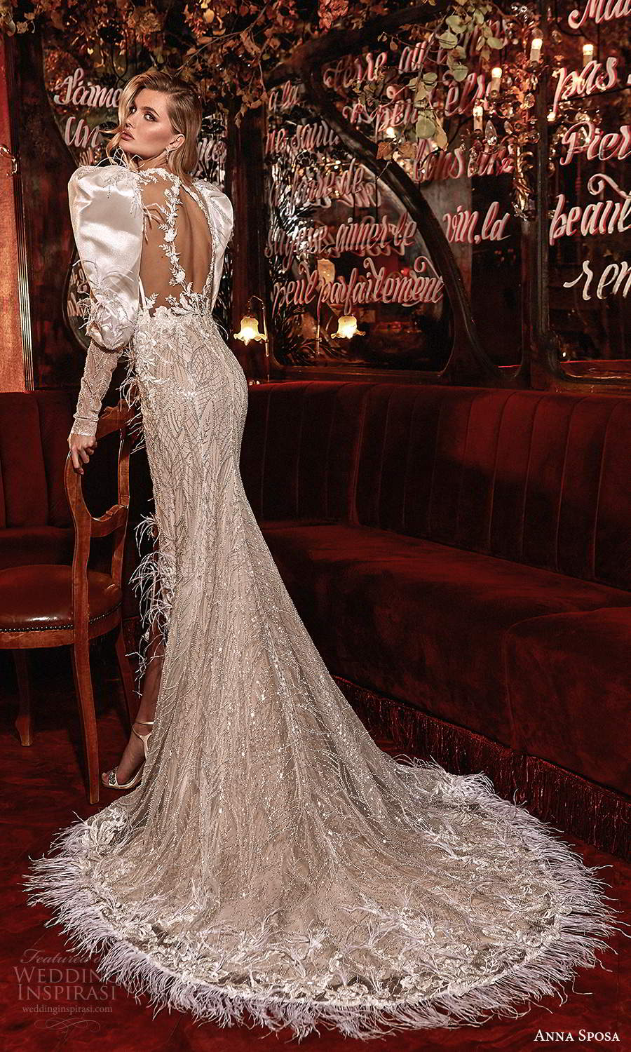 anna sposa 2021 couture bridal long puff sleeves plunging neckline fully embellished sheath wedding dress slit skirt chapel train (4) bv