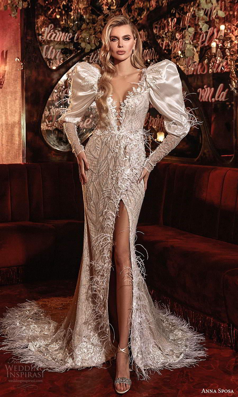 anna sposa 2021 couture bridal long puff sleeves plunging neckline fully embellished sheath wedding dress slit skirt chapel train (4) mv