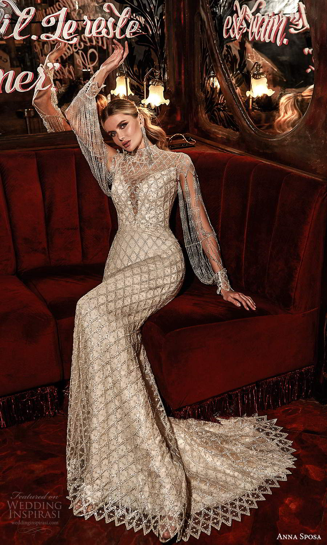anna sposa 2021 couture bridal long sleeves high neck plunging v neckline fully embellished sheath wedding dress sweep train illusion back (5) mv