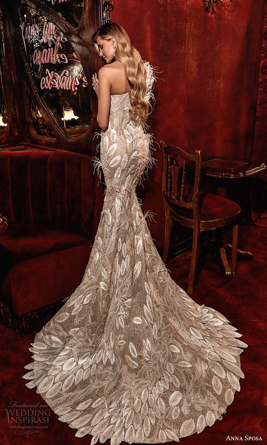 anna sposa 2021 couture bridal long sleeves one shoulder neckline fully embellished fit flare mermaid wedding dress chapel train (3) bv