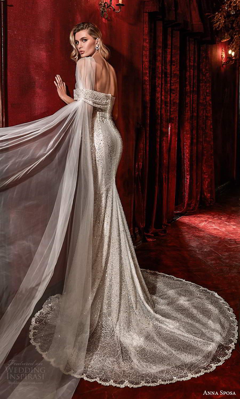 anna sposa 2021 couture bridal off shoulder straps asymmetrical fully embellished glitzy mermaid sheath wedding dress chapel train (1) bv