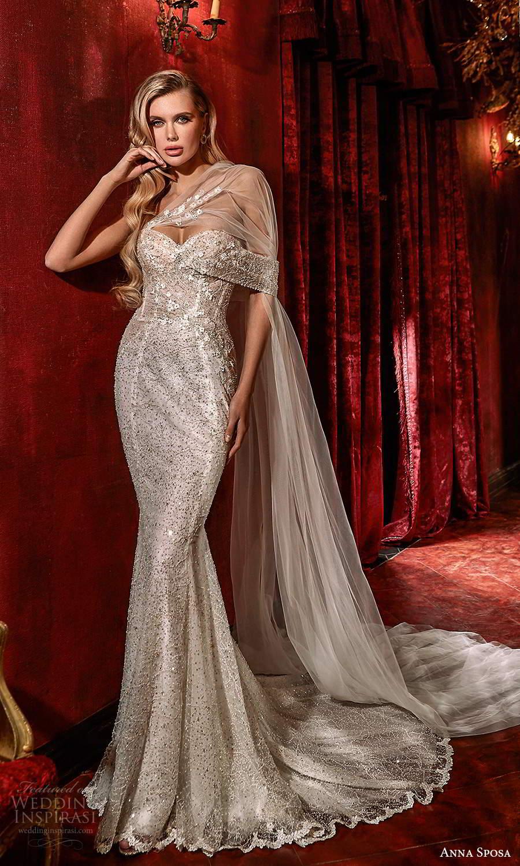 anna sposa 2021 couture bridal off shoulder straps asymmetrical fully embellished glitzy mermaid sheath wedding dress chapel train (1) mv