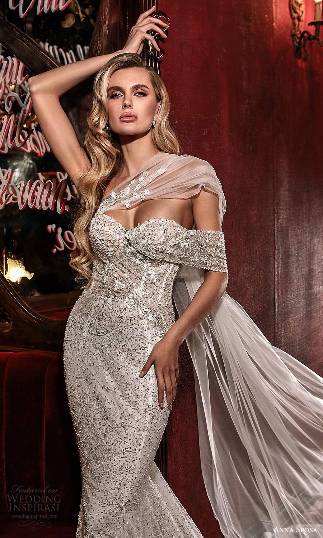 anna sposa 2021 couture bridal off shoulder straps asymmetrical fully embellished glitzy mermaid sheath wedding dress chapel train (1) zv