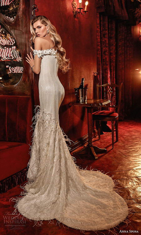 anna sposa 2021 couture bridal off shoulder straps plunging v neckline fully embellished sheath wedding dress chapel train (7) bv