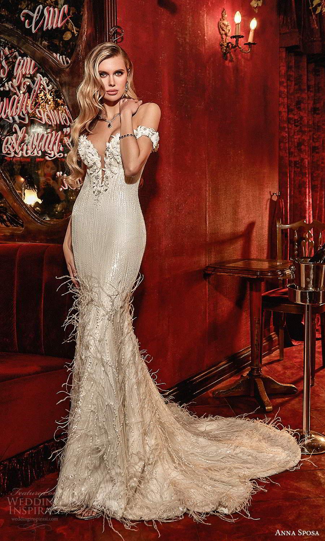 anna sposa 2021 couture bridal off shoulder straps plunging v neckline fully embellished sheath wedding dress chapel train (7) mv