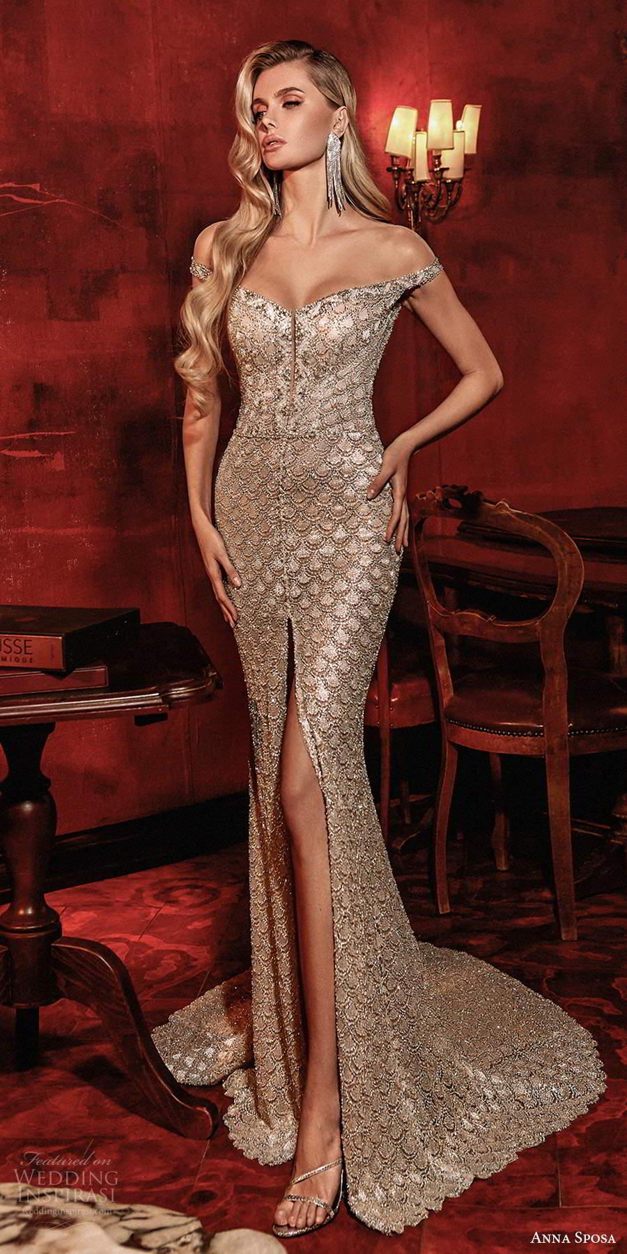 anna sposa 2021 couture bridal off shoulder straps v neckline fully embellished sheath wedding dress chapel train sheer back (8) mv