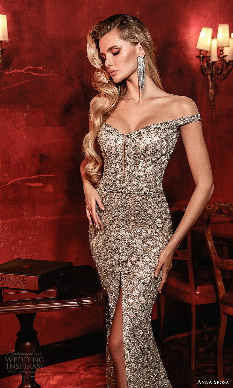 anna sposa 2021 couture bridal off shoulder straps v neckline fully embellished sheath wedding dress chapel train sheer back (8) zv