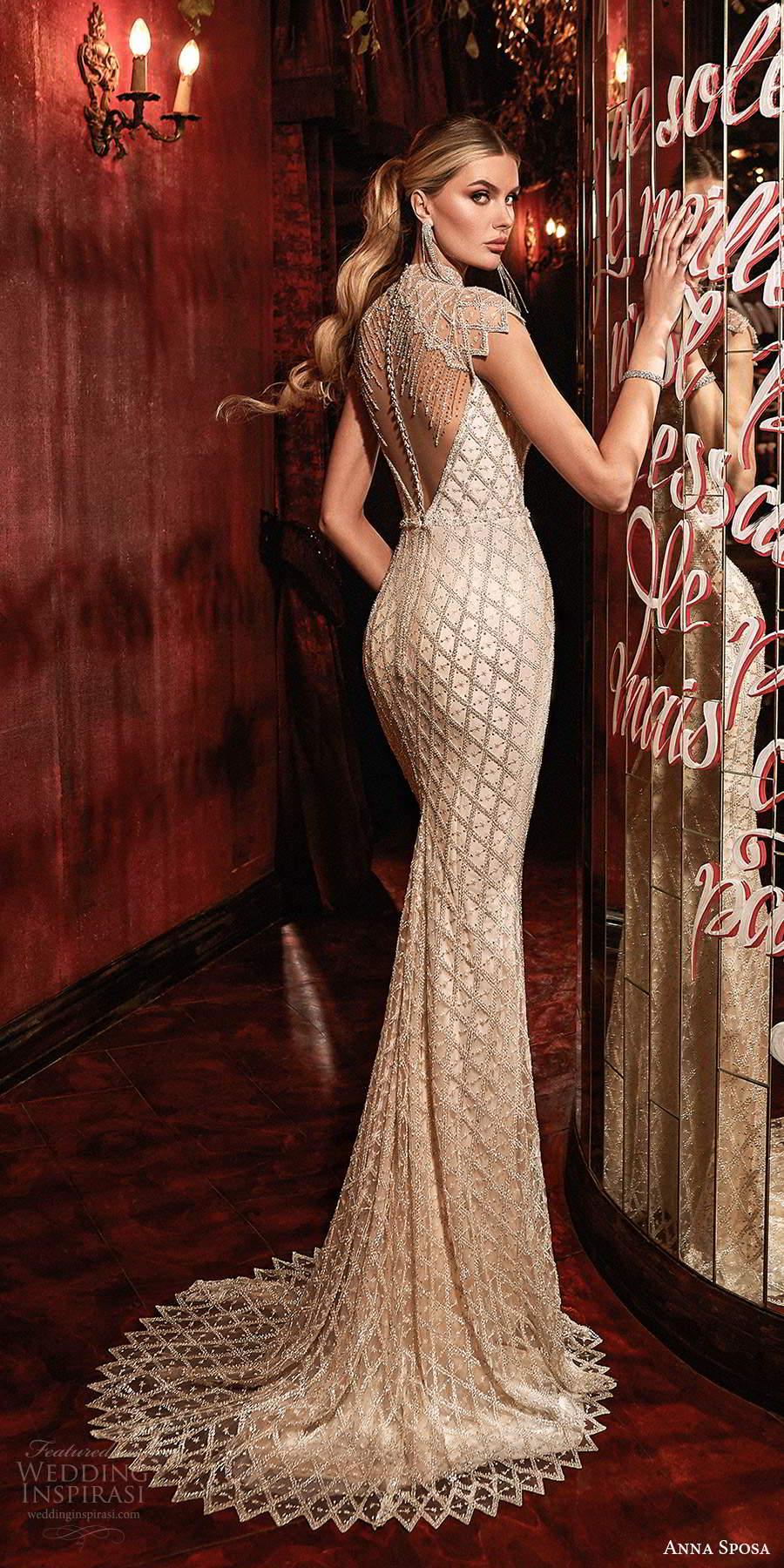anna sposa 2021 couture bridal sheer cap sleeves high neck plunging v neckline fully embellished sheath wedding dress sweep train illusion back (5) bv