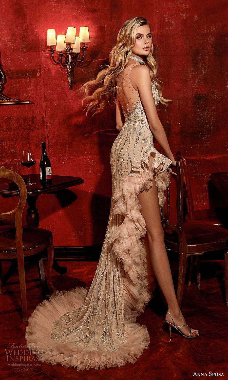 anna sposa 2021 couture bridal sleeveless illusion straps plunging v neckline fully embellished column wedding dress side slit ruffle sweep train (10) bv