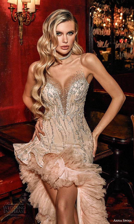 anna sposa 2021 couture bridal sleeveless illusion straps plunging v neckline fully embellished column wedding dress side slit ruffle sweep train (10) zv