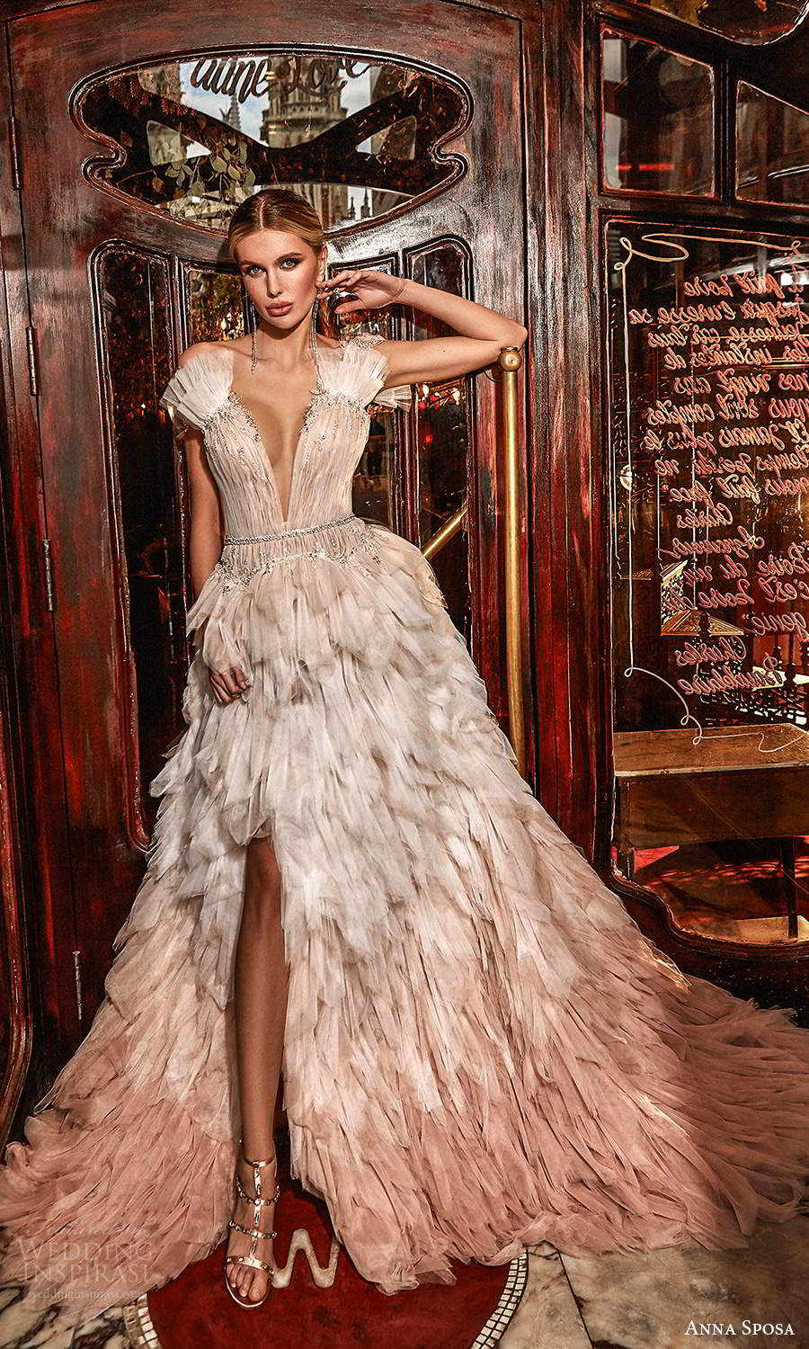 anna sposa 2021 couture bridal sleeveless thick straps plunging v neckline ruched bodice a line ball gown wedding dress tiered skirt chapel train (6) mv