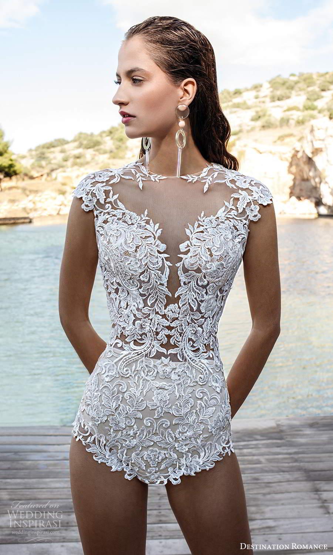 destination romance 2020 bridal cap sleeve jewel neckline embellished bodice bodysuit wedding dress (17) mv