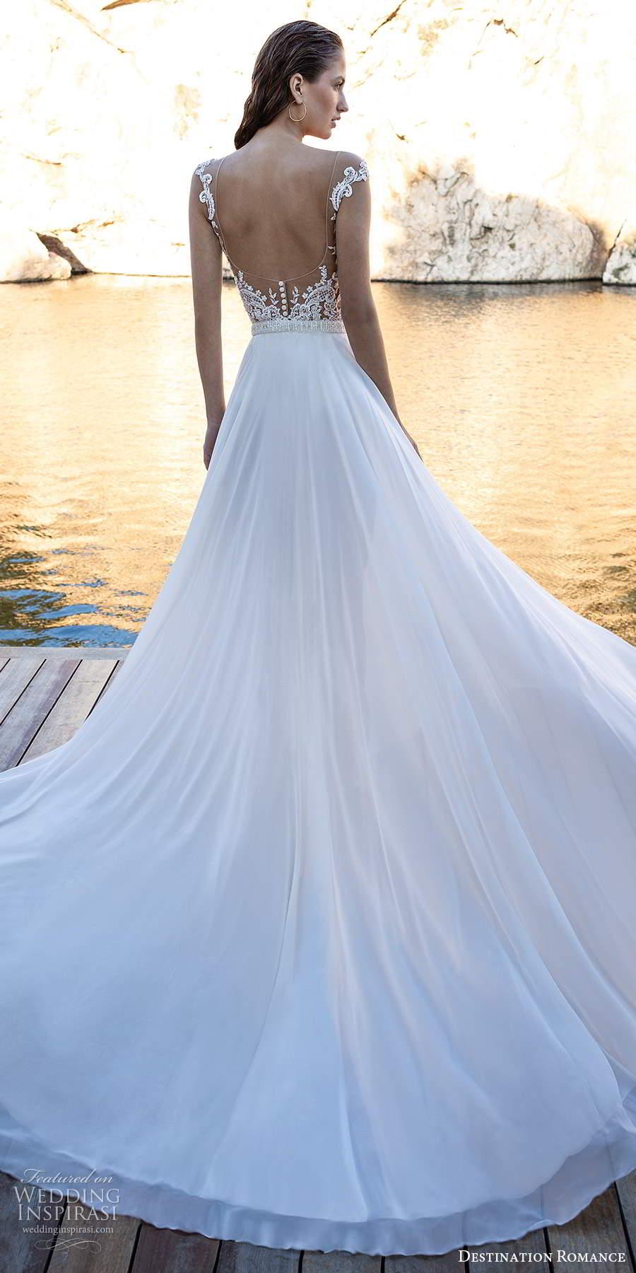 destination romance 2020 bridal cap sleeves illusion bateau sweetheart neckline embellished bodice bodysuit wedding dress a line overskirt (15) bv