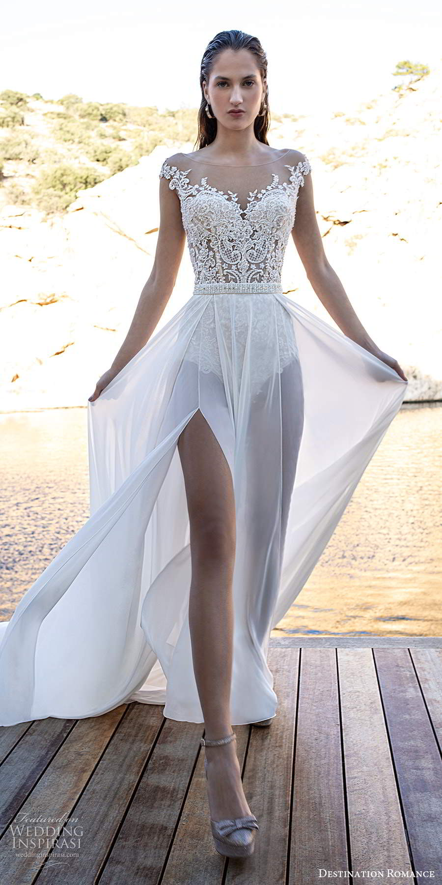 destination romance 2020 bridal cap sleeves illusion bateau sweetheart neckline embellished bodice bodysuit wedding dress a line overskirt (15) mv