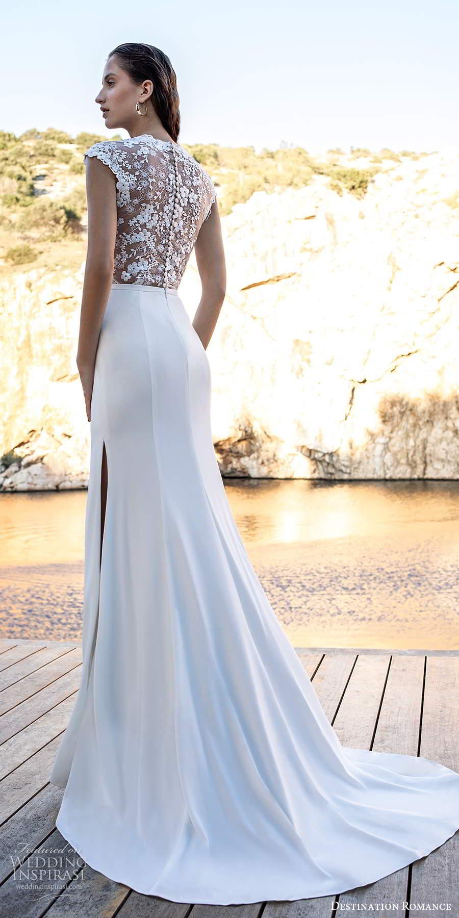 destination romance 2020 bridal cap sleeves jewel neckline lace bodice clean skirt sheath column wedding dress chapel train (14) bv