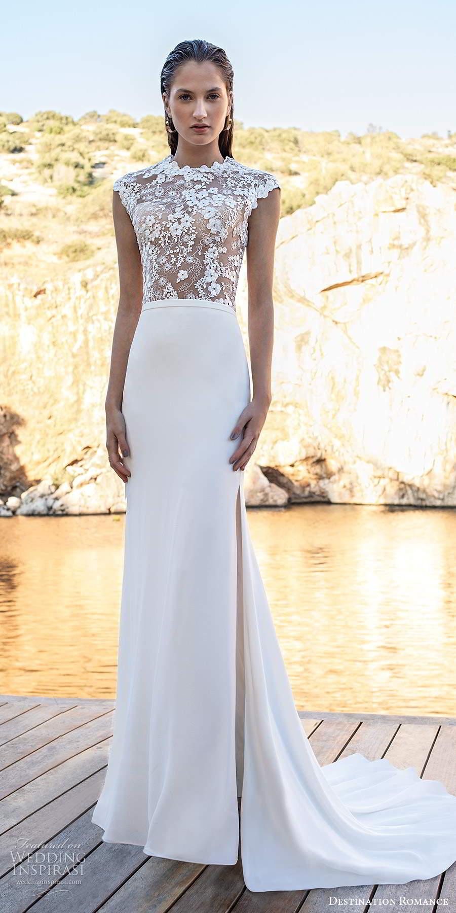 destination romance 2020 bridal cap sleeves jewel neckline lace bodice clean skirt sheath column wedding dress chapel train (14) mv