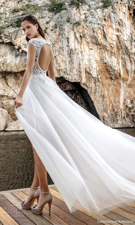 destination romance 2020 bridal cap sleeves plunging v neckline fully embellished mini short wedding dress a line overskirt (13) bv