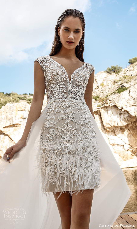 destination romance 2020 bridal cap sleeves plunging v neckline fully embellished mini short wedding dress a line overskirt (13) mv