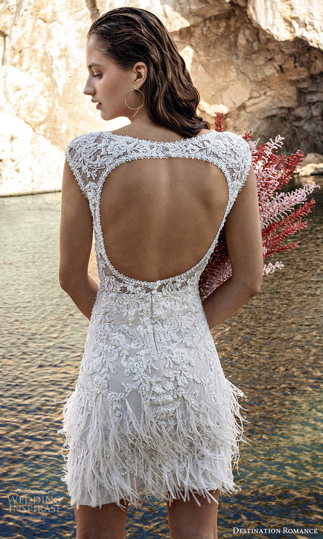 destination romance 2020 bridal cap sleeves plunging v neckline fully embellished mini short wedding dress keyhole back (13) bv