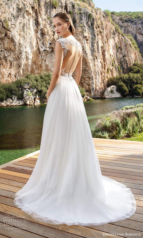destination romance 2020 bridal cap sleeves sheer bateau plunging v neckline a line wedding dress chapel train (8) bv