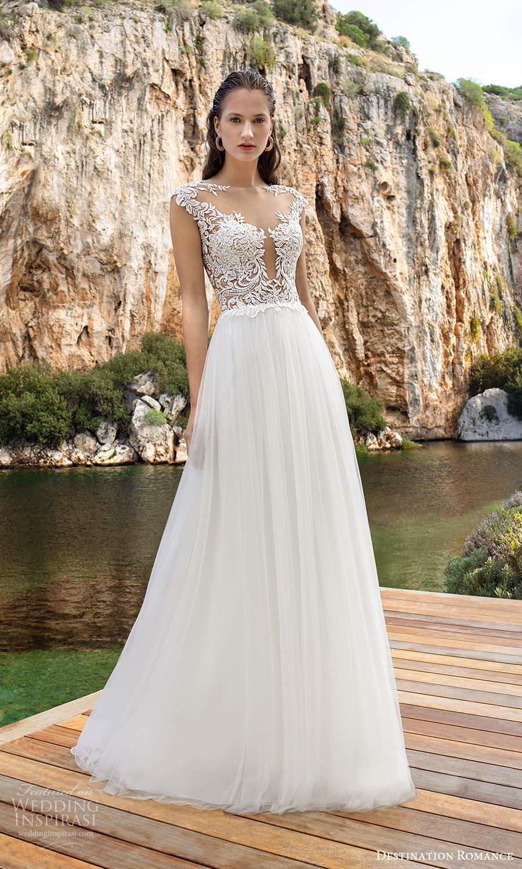 destination romance 2020 bridal cap sleeves sheer bateau plunging v neckline a line wedding dress chapel train (8) mv