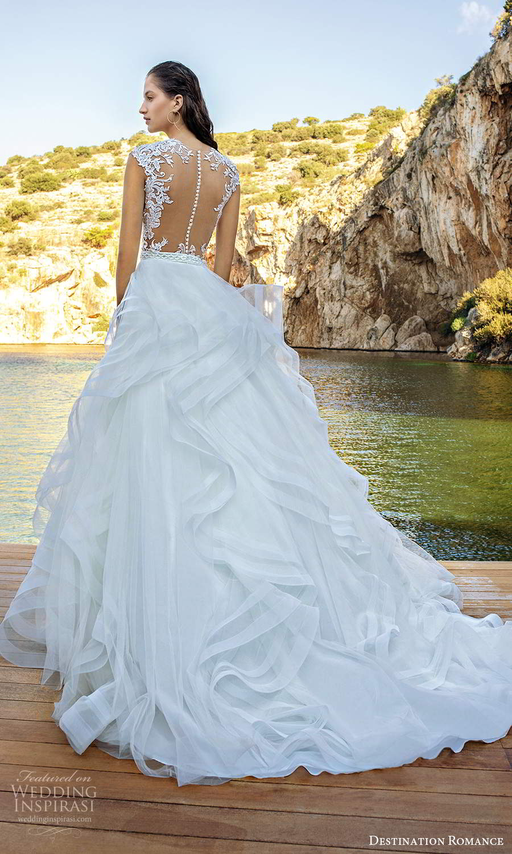 destination romance 2020 bridal cap sleeves sheer jewel sweetheart neckline embellished bodice a line ball gown wedding dress (7) bv