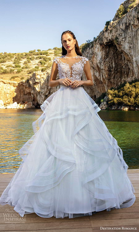 destination romance 2020 bridal cap sleeves sheer jewel sweetheart neckline embellished bodice a line ball gown wedding dress (7) mv