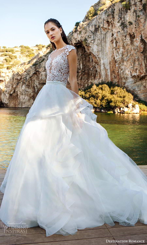 destination romance 2020 bridal cap sleeves sheer jewel sweetheart neckline embellished bodice a line ball gown wedding dress (7) sv