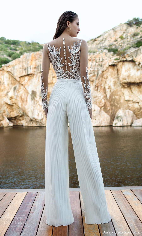 destination romance 2020 bridal illusion long sleeves sweetheart neckline embellished bodice jumpsuit pants wedding dress (10) bv