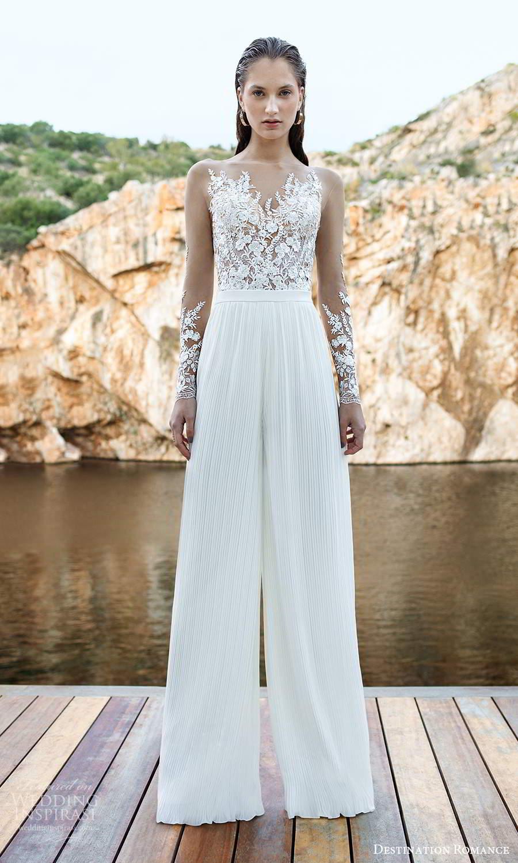 destination romance 2020 bridal illusion long sleeves sweetheart neckline embellished bodice jumpsuit pants wedding dress (10) mv