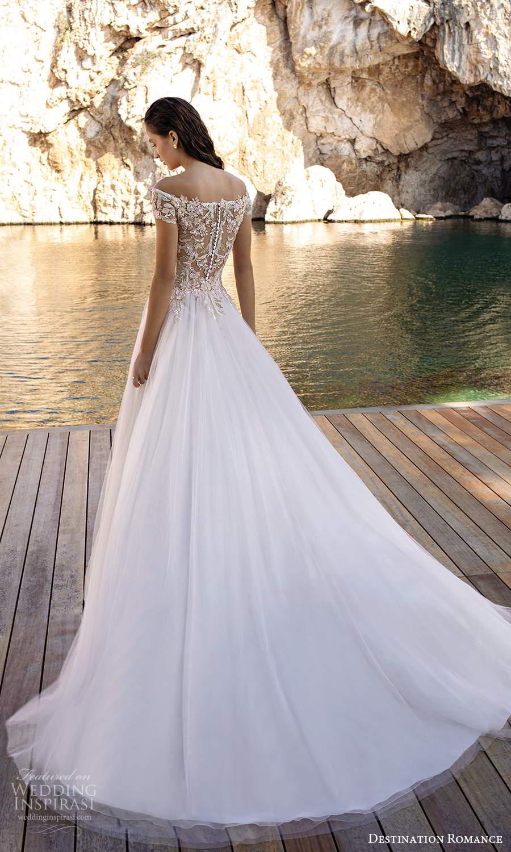 destination romance 2020 bridal short sleeves off shoulder neckline heavily embellished bodice a line ball gown wedding dress blush illusion back (8) bv