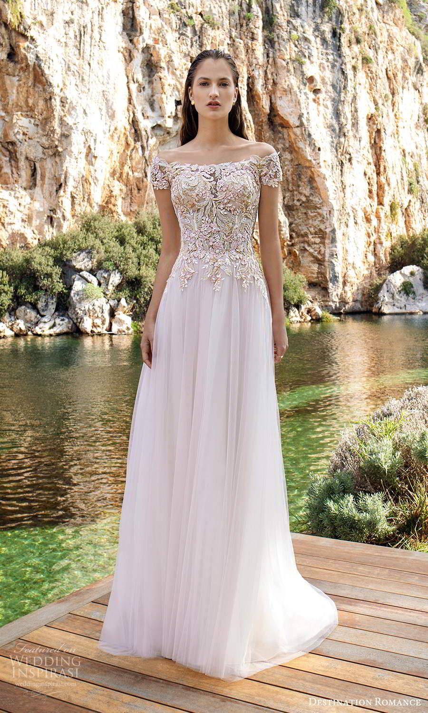 destination romance 2020 bridal short sleeves off shoulder neckline heavily embellished bodice a line ball gown wedding dress blush illusion back (8) mv