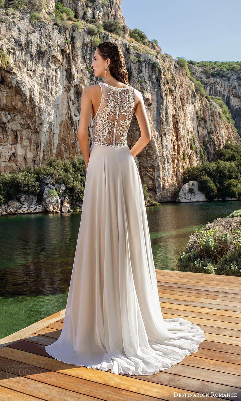 destination romance 2020 bridal sleeveless halter neckline cutout embellished bodice a line wedding dress chapel train (2) bv