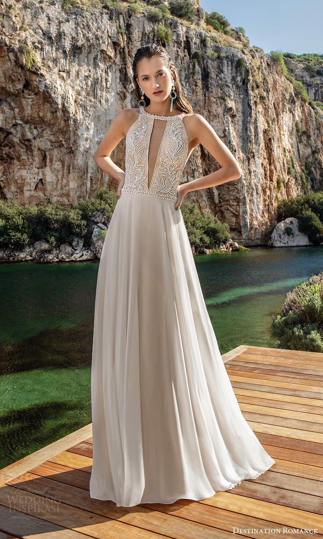 destination romance 2020 bridal sleeveless halter neckline cutout embellished bodice a line wedding dress chapel train (2) mv