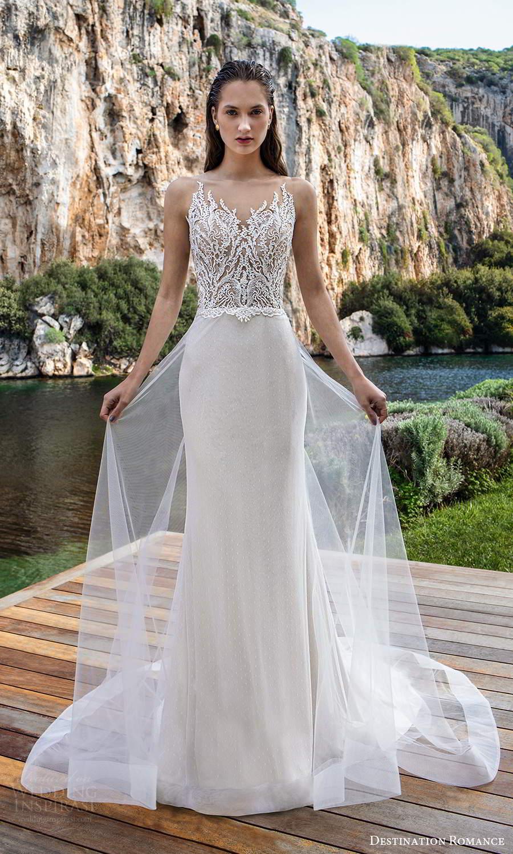 destination romance 2020 bridal sleeveless illusion straps scalloped v neckline embellished lace bodice sheath wedding dress aline overskirt (3) mv