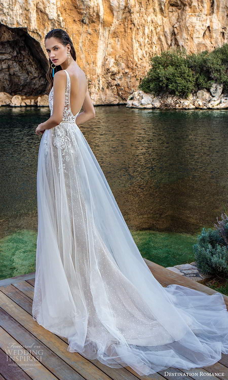 destination romance 2020 bridal sleeveless strapls plunging v neckline embellished bodice a line wedding dress scoop back chapel train (4) bv