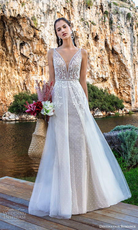 destination romance 2020 bridal sleeveless strapls plunging v neckline embellished bodice a line wedding dress scoop back chapel train (4) mv