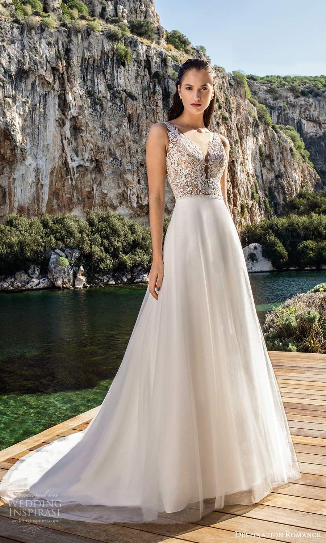 destination romance 2020 bridal sleeveless straps plunging v neckline embellished bodice a line ball gown wedding dress chapel train (5) mv